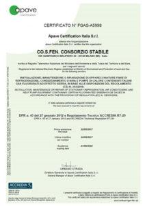 Certificato Cosfen FGAS - Stea